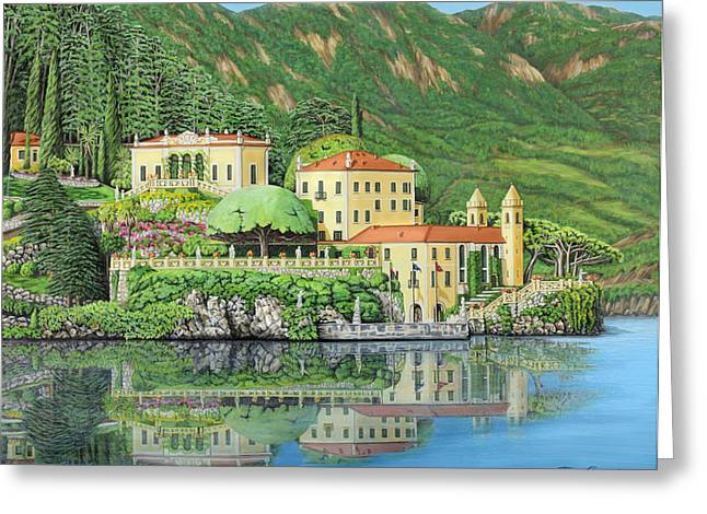 Greeting Card featuring the painting Lake Como Morning by Jane Girardot