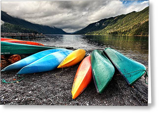 Lake Crescent Kayaks Greeting Card by Ian Good