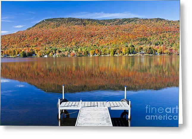 Lake Elmore Autumn Greeting Card by Alan L Graham