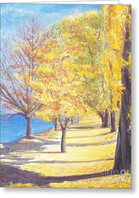 Greeting Card featuring the painting Lake Explanade Queenstown Nz by Jane  See