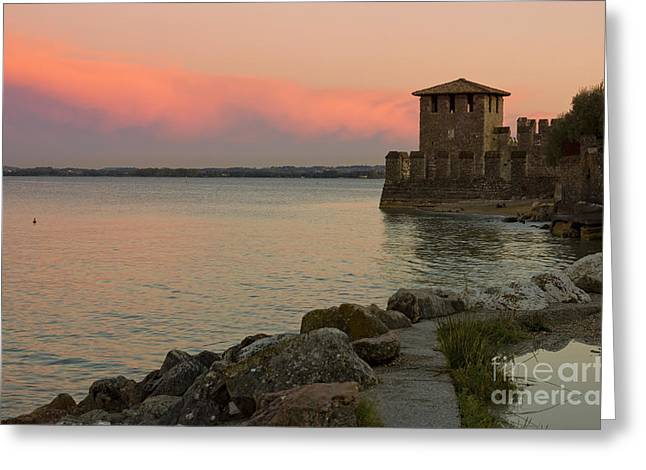 Lake Garda Sunset With The Tower Of The Scaliger Castle Greeting Card by Kiril Stanchev