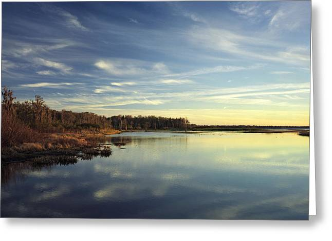 Lake Gentry Sunset II.  Greeting Card by Chris  Kusik