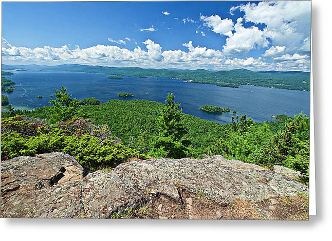 Lake George Shelving Rock Greeting Card