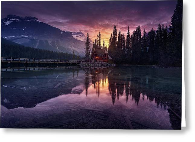 Lake House Sunrise Greeting Card