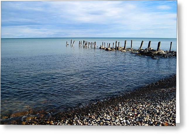 Lake Huron Pilings Greeting Card by Mary Bedy