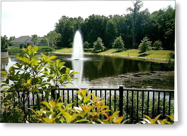Lake In Bloom Greeting Card by Desline Vitto