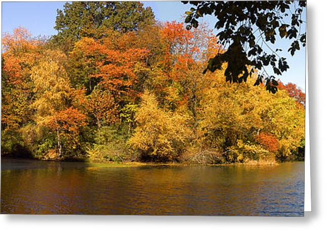Greeting Card featuring the photograph Lake In Central Park In Fall by Yue Wang