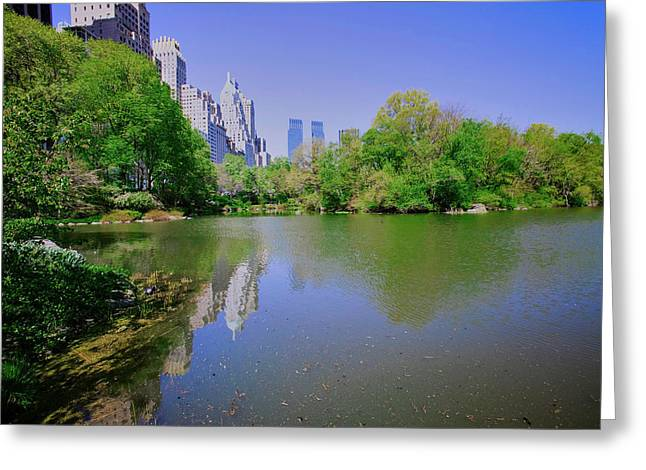 Lake In Central Park In Spring With New Greeting Card
