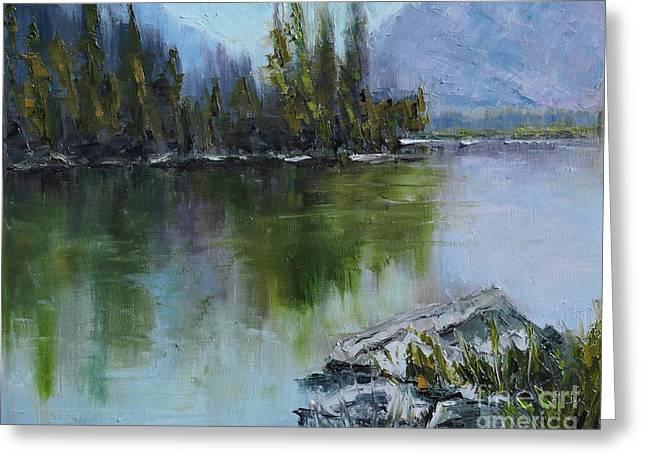 Lake Irwin Greeting Card by Linda Mooney