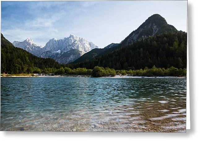 Greeting Card featuring the photograph Lake Jasna In Kranjska Gora by Ian Middleton