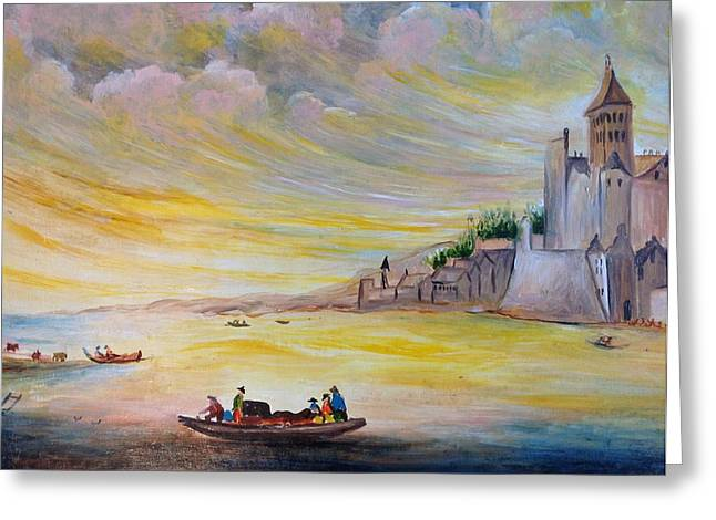Greeting Card featuring the painting Lake Landscape by Egidio Graziani