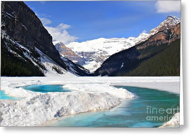 Lake Louise Canada Greeting Card by Leslie Kirk