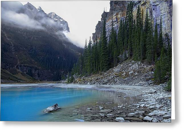 Lake Louise North Shore - Canada Rockies Greeting Card by Daniel Hagerman