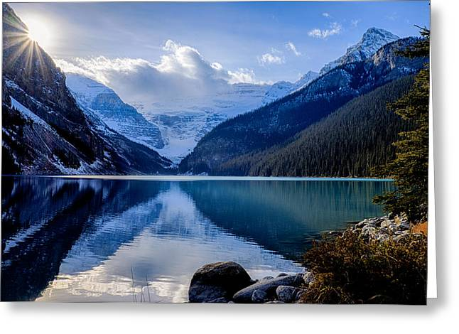 Lake Louise With Sunstar Greeting Card