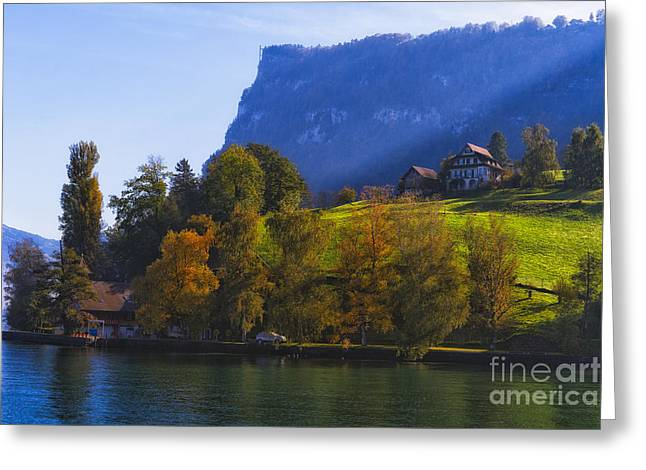 Lake Lucerne Fall Morning Greeting Card by George Oze