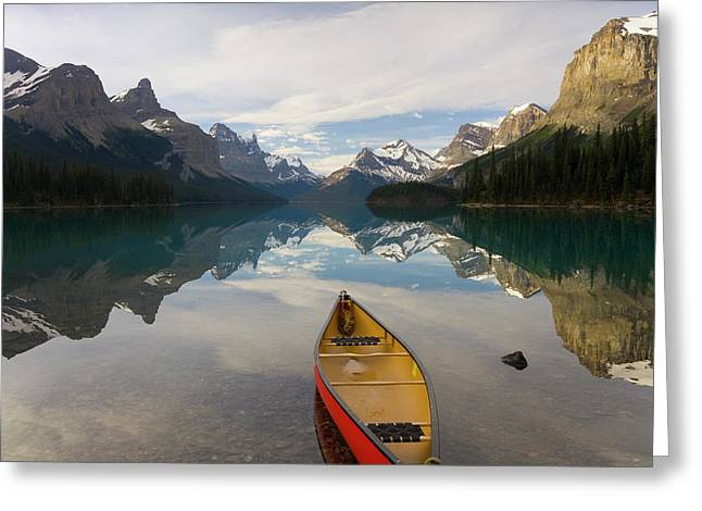Lake Maligne, Near Jasper, Jasper Greeting Card by Peter Adams