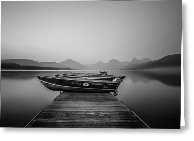 Black And White // Lake Mcdonald, Glacier National Park Greeting Card by Nicholas Parker