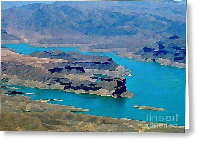 Lake Mead Aerial Shot Greeting Card by John Malone