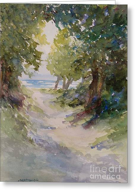 Lake Michigan Beach Path Greeting Card