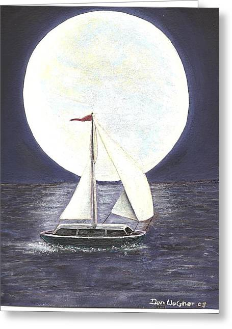 Lake Michigan Full Moon Greeting Card