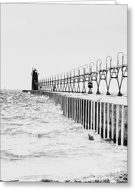 Lake Michigan Lighthouse Greeting Card by Emily Kay