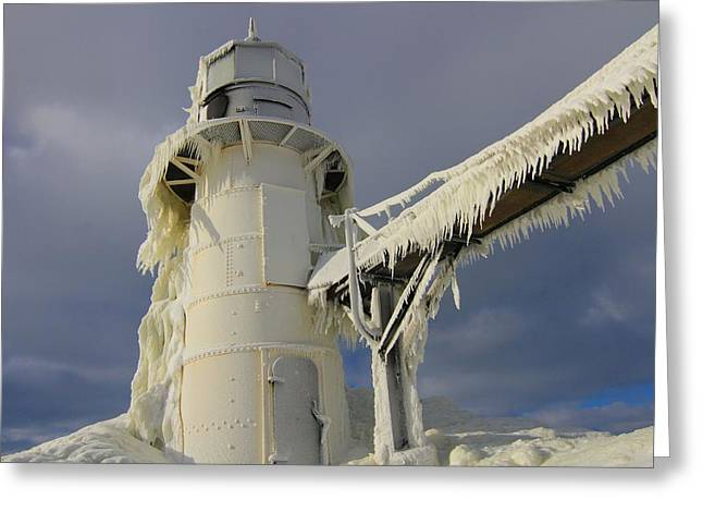 Lake Michigan Lighthouse Frozen In Winter Greeting Card by Dan Sproul
