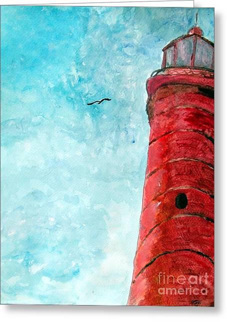 Lake Michigan Red Lighthouse Greeting Card