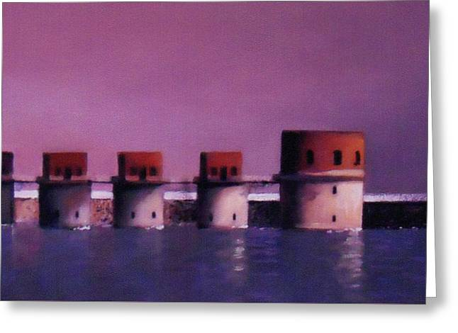 Lake Murray Towers In Evening Greeting Card by Blue Sky