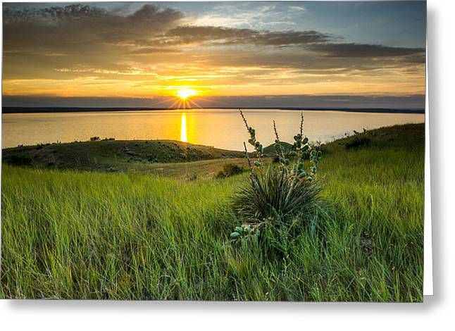 Lake Oahe Sunset Greeting Card
