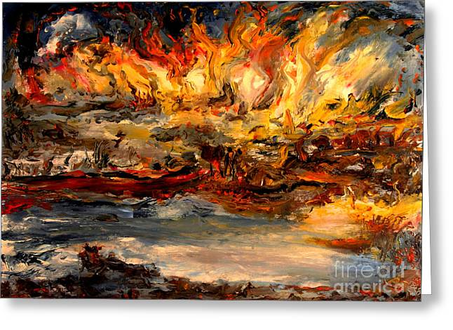 Lake Of Fire Greeting Card by Arthur Robins