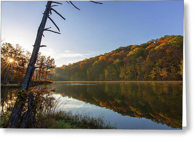 Lake Ogle In Autumn In Brown County Greeting Card by Chuck Haney