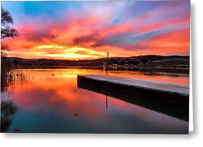 Lake Oneil Sunset Greeting Card by Robert  Aycock