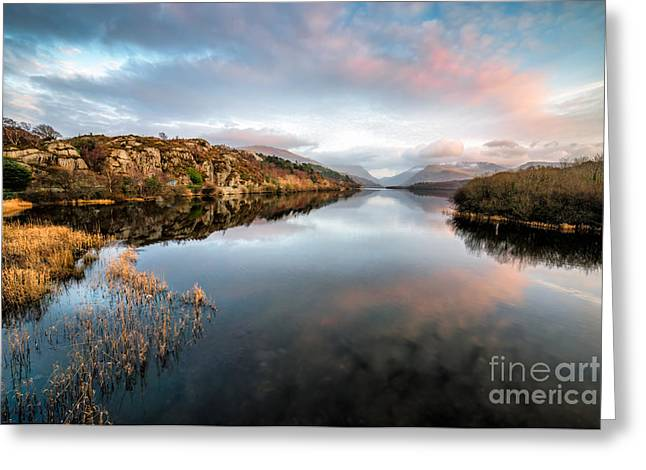Lake Padarn Sunset Greeting Card by Adrian Evans