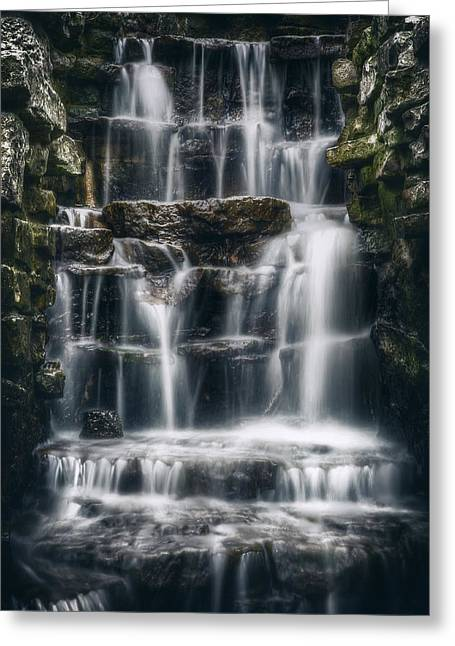 Lake Park Waterfall 2 Greeting Card by Scott Norris