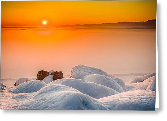 Lake Pepin Winter Sunrise Greeting Card by Mark Goodman
