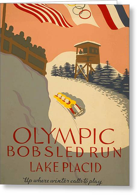 Lake Placid  Bobsled Olyimics Greeting Card by American Classic Art