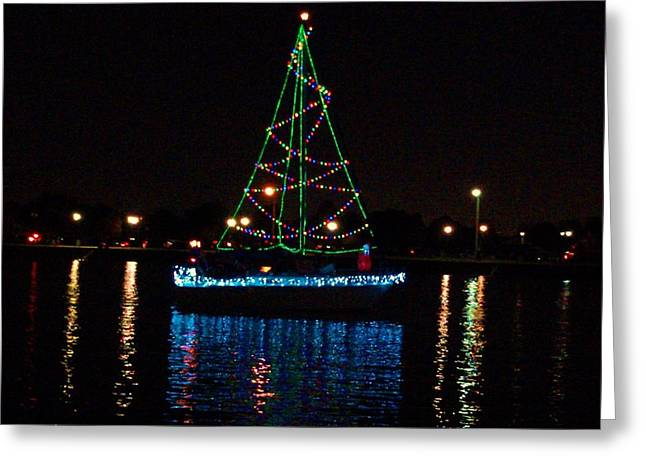 West End Boat Parade - Lights On The Lake, Lake Pontchartrain, New Orleans La Greeting Card