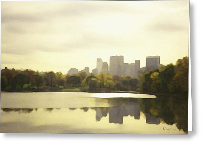 Lake Reflection Skyline 3 Greeting Card