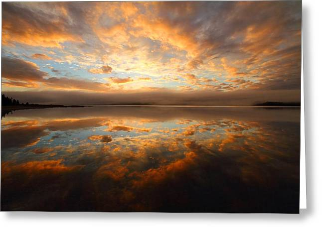 Lake Reflection Sunrise On The Cabot Trail Greeting Card