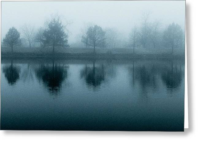 Lake Reflections In Blue Greeting Card