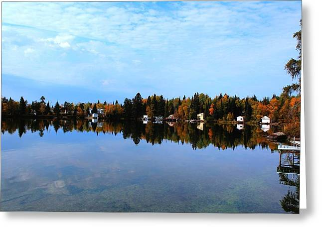 Lake Reflections Greeting Card by Larry Trupp