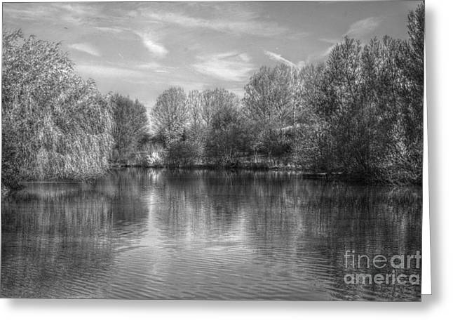 Greeting Card featuring the photograph Lake Reflections Mono by Jeremy Hayden