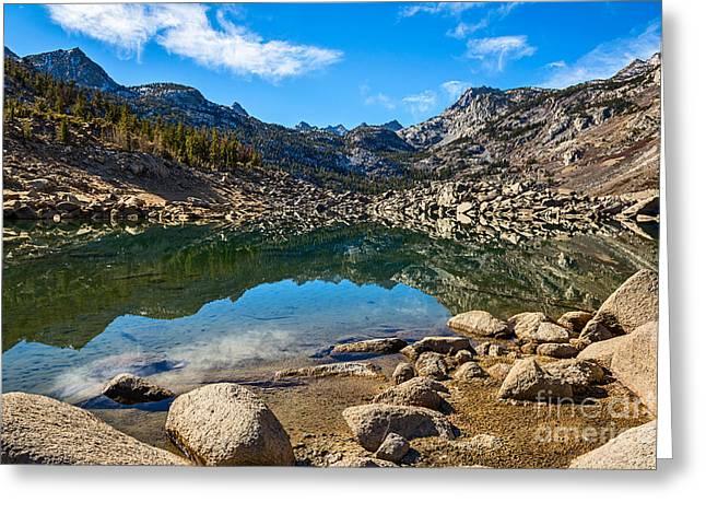 Lake Sabrina In Bishop Creek Canyon. Greeting Card