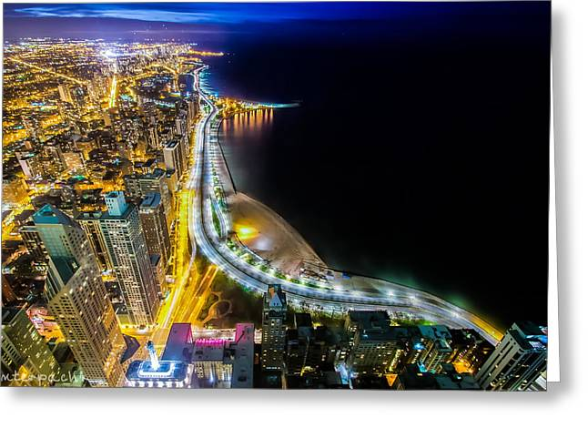 Lake Shore Drive Glow Greeting Card by Raf Winterpacht