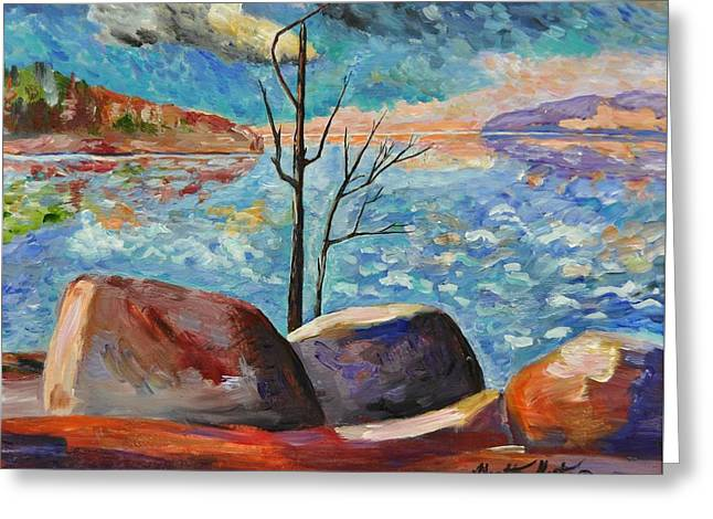 Lake Simcoe Peace Greeting Card by Heather Kertzer