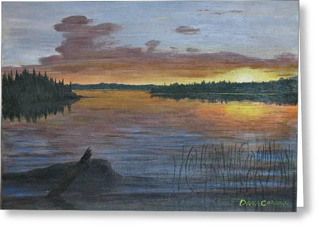 Lake Sunrise Greeting Card by Dana Carroll