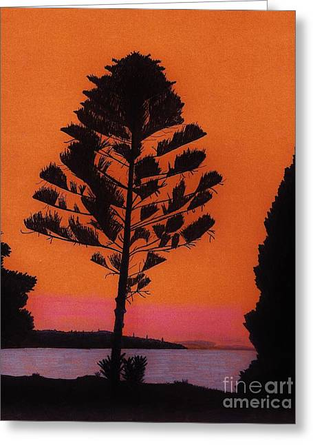Greeting Card featuring the drawing Lake Sunset by D Hackett