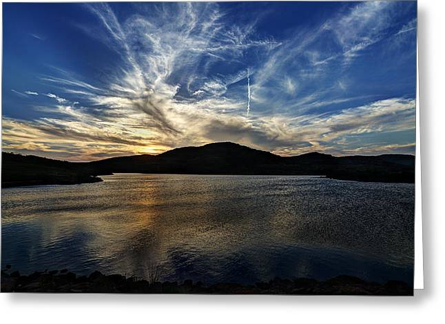 Lake Sunset In The Wichita Mountains Greeting Card