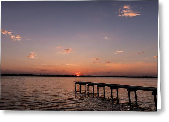 Lake Sunset Over Pier Greeting Card