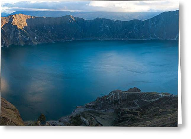 Lake Surrounded By Mountains, Quilotoa Greeting Card